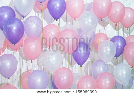 Pastel color balloons for Background - Stock Photo