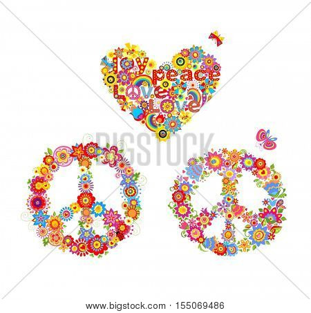Hippie applique with peace flower symbol and heart flower shape with rainbow