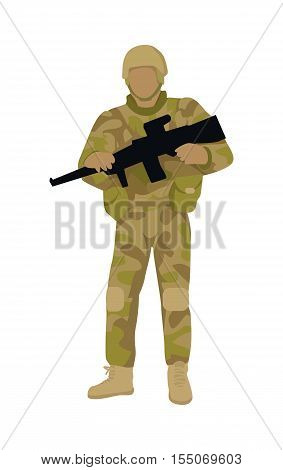 Armed soldier with weapon isolated. Infantry troop soldiers with gun. Men in camouflage combat uniform. Combat on foot. War concept. Strong fighter troop. Commander. Vector illustration in flat style.
