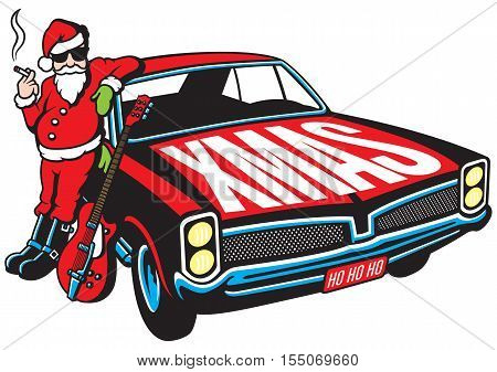 Rock and Roll Santa Claus vector illustration with vintage muscle car and cool guitar.