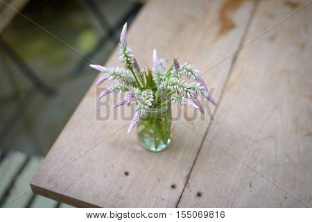 Cockscomb flowers in glass vase on wooden table