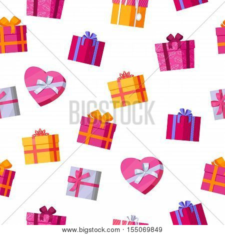 Seamless pattern gift boxes. Colorful wrapped gift boxes. Beautiful present box with overwhelming bow. Various gift boxes on white background. Gift symbol. Christmas gift box. Vector illustration