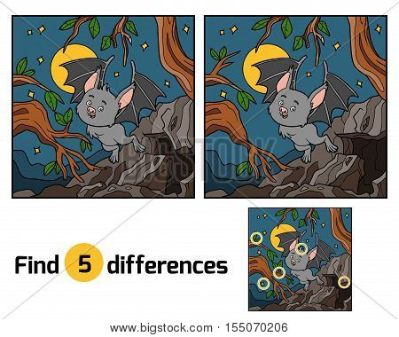 Find the differences, education game for children. Vampire bat and background