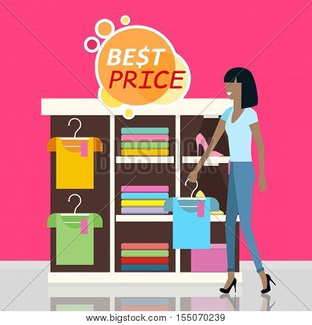 Sale in clothing store vector concept. Flat design. Smiling young woman standing near shelves with clothes, best price sticker above. Shopping in boutique. For  For store goods sales and discounts ad