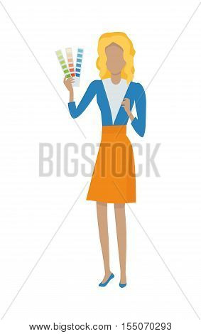 Designer vector illustration. Flat design. Woman character with color guide. Interior, web, app interface design. Color matching. For profession and production concepts. Isolated on white background