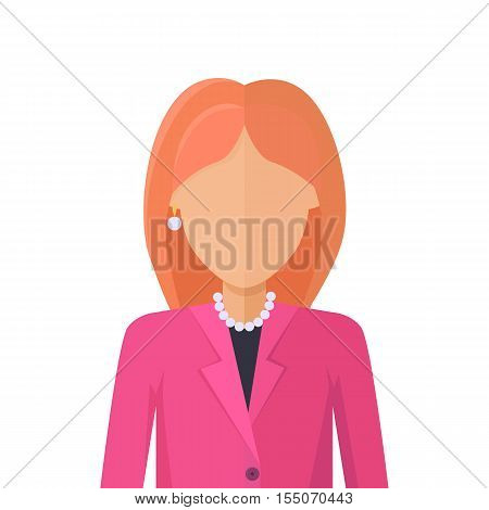 Young woman private avatar icon. Young woman in pink jacket with necklace. Social networks business private users avatar pictogram. Isolated vector illustration on white background.