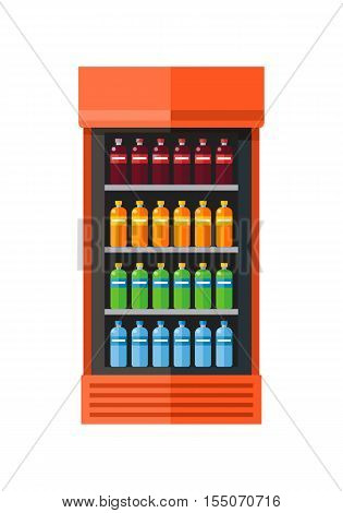 Orange showcase refrigerator for cooling drinks in bottles. Different colored bottles in orange drinks fridge. Fridge dispenser cooling machine. Isolated object in flat design on white background.