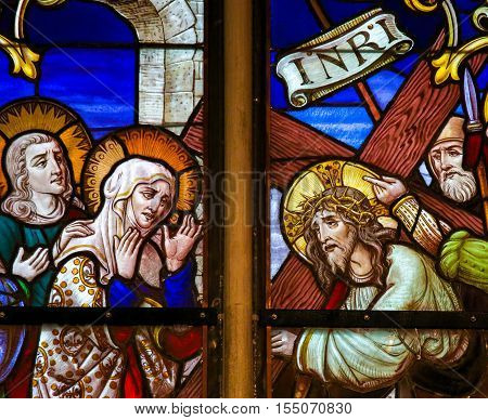 Stained Glass - Jesus Meets Mary On The Way Of The Cross
