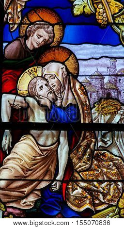 Jesus Taken From The Cross - Stained Glass - Good Friday