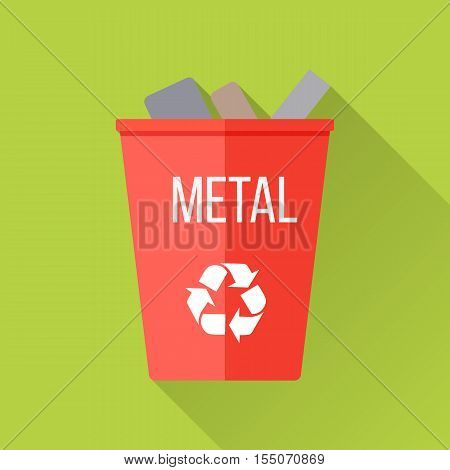 Red recycle garbage bin with metal. Reuse or reduce symbol. Metal recycle trash can. Trash can icon in flat. Waste recycling. Environmental protection. Vector illustration.