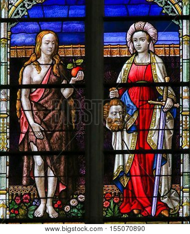 Stained Glass Of Eve And Judith