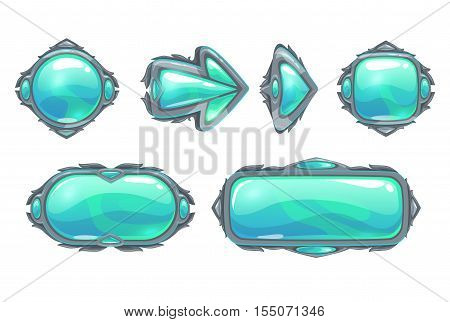 Cool fantasy blue buttons set for war game design. Vector assets for gui design. Isolated on white.