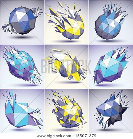 Collection Of 3D Vector Digital Wireframe Blue And Yellow Objects Broken Into Different Particles, G