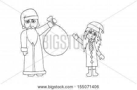 santa with girl coloring book page for kids and adults