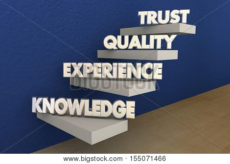 Knowledge Experience Quality Trust Reputation Steps 3d Illustration