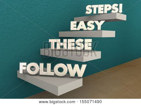 Follow These Easy Steps Directions Lesson Learning 3d Illustration poster