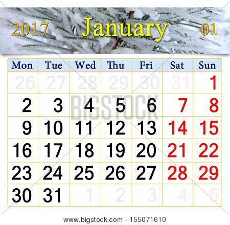 calendar for January 2017 with image of snowy pines