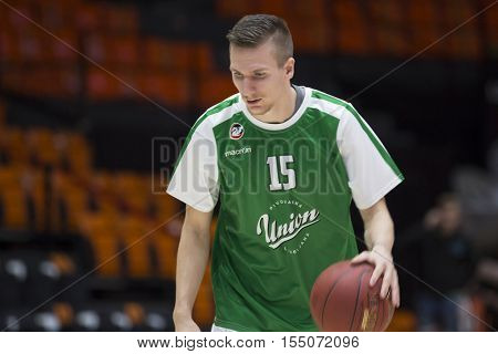 VALENCIA, SPAIN - NOVEMBER 2nd: Gregor Hrovat during Eurocup match between Valencia Basket and Union Olimpija Ljubljana at Fonteta Stadium on November 2, 2016 in Valencia, Spain