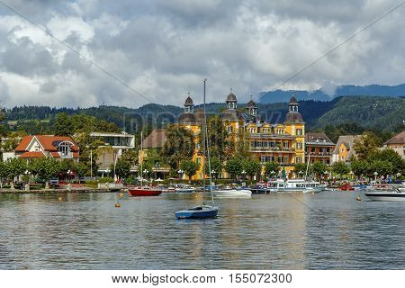 View of Velden from Worthersee lake Carinthia Austria