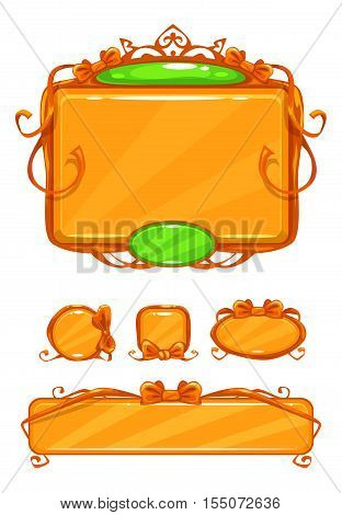 Beautiful girlish orange game user interface including different buttons and information panel. Princess style gui vector assets, isolated on white