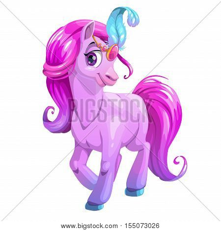 Beautiful cartoon standing young horse with purple curly hair and blue plume. Vector beautiful girlish illustration for girls t shirt print design. Pony princess icon, isolated on white.