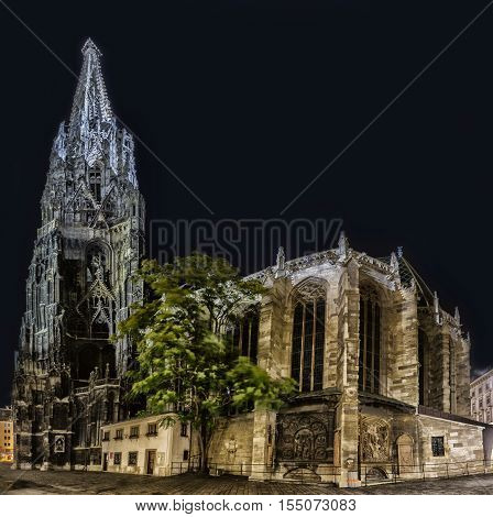 St. Stephen's Cathedral (Stephansdom) is the mother church of the Roman Catholic Archdiocese of Vienna. Although the first structure was completed in 1160 major reconstruction lasted until 1511. Night view.