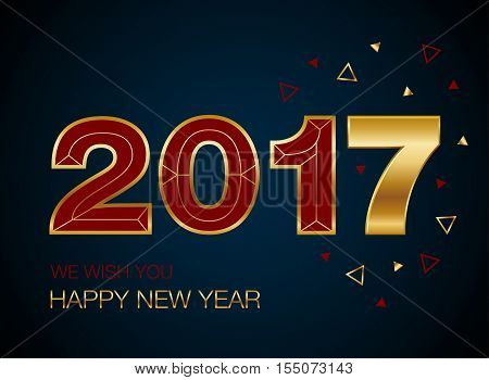 gold glitter new year 2017 text in modern style happy new year 2017 vector