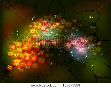 Decorative Sakura branch with bunches of flowers for the fairy night background with stars and glitter. EPS10 vector illustration.