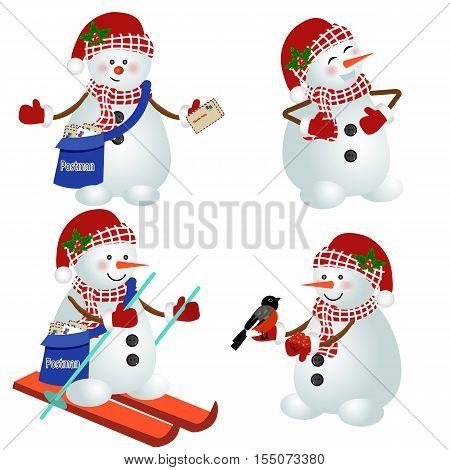 Snowman vector illustration. Set of funny snowmen. cartoon. Set for new year and Christmas