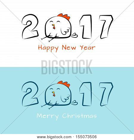 New year`s banner with inscription 2017 with amusing rooster. Design for cover calendar cards new year 2017. Chinese New Year.