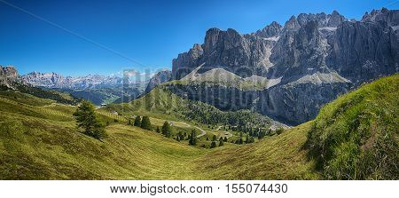 Panoramic view from Dantercepies on the Sella Group and Mountains of Alta Badia Dolomites - Trentino-Alto Adige Italy
