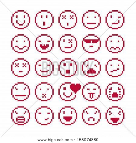 Vector flat 8 bit icons collection of simple geometric pixel symbols. Simplistic faces of human beings expressing different emotions digital web signs.