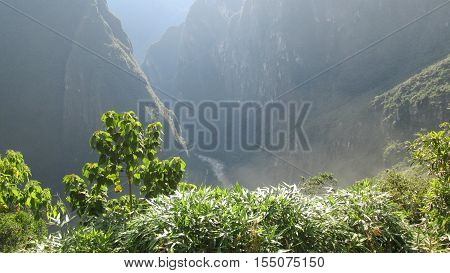 View of machu pichu mountain and river
