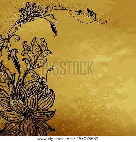 The raster version Flower design on a gold background. Hand drawn flowers. Decorative floral ornament.