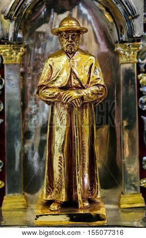 Statue Of Father Damien In Mechelen Cathedral