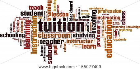 Tuition word cloud concept. Vector illustration on white