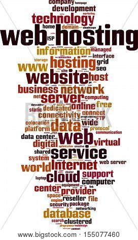 Web hosting word cloud concept. Vector illustration