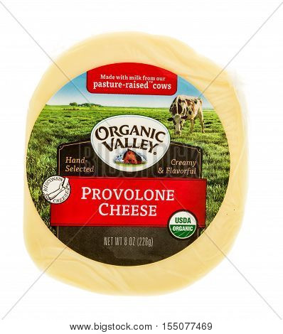 Winneconne WI - 2 November 2016: Package of Organic Valley Provolone cheese on an isolated background.