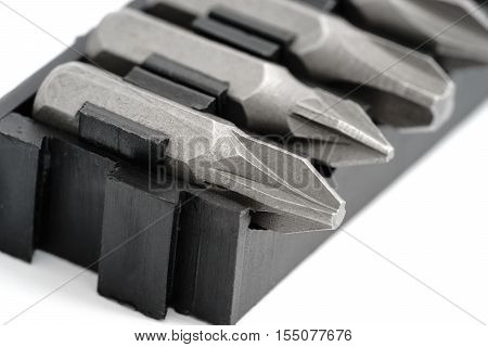 Sets of screwdriver bits close up, isolated