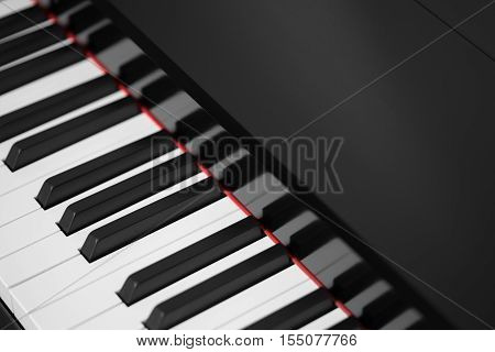 Black piano instrument, keyboard close-up background