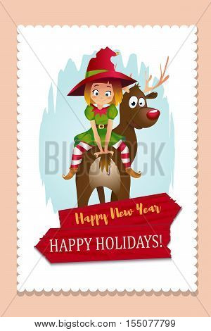 Elf CardMerry Christmas. Santas elf helper riding a Reindeer. wooden banner. white background
