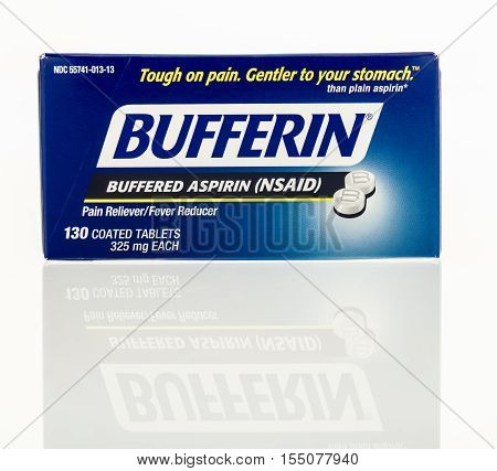 Winneconne WI - 2 November 2016: Box of Bufferin aspirin on an isolated background.