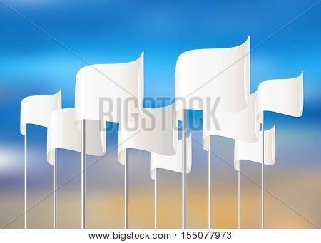 White vector flags on sky background. Vector eps10 illustration