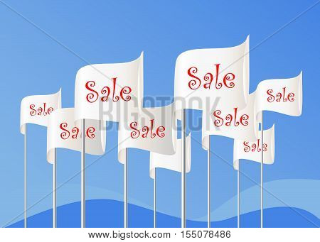 Word SALE on flags. White vector flags on sky background. Vector eps10 illustration