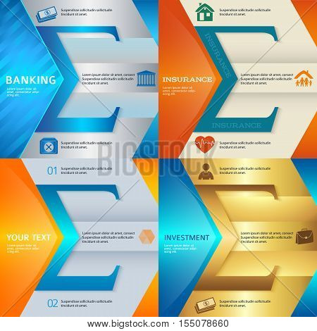 Set Design business presentation template. Vector illustration EPS 10 of different kinds of banking. Can be used for infographics and typography chart process the bank business service steps options