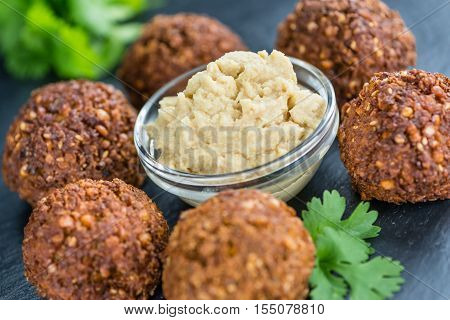 Wooden Table With Falafels
