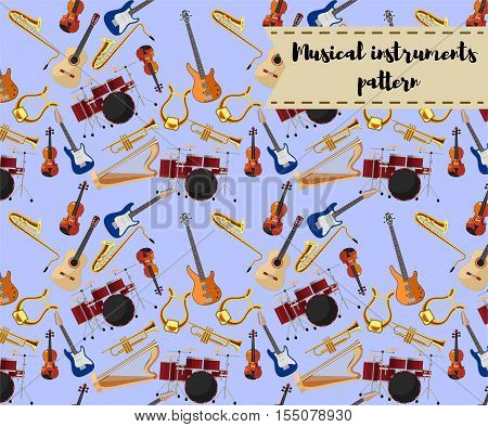 Musical instruments icons of drum set, acoustic, bass and electric guitars, violin, saxophone, trumpet, harp, ancient lyre. Art, culture, musical entertainment concept Modern vector pattern