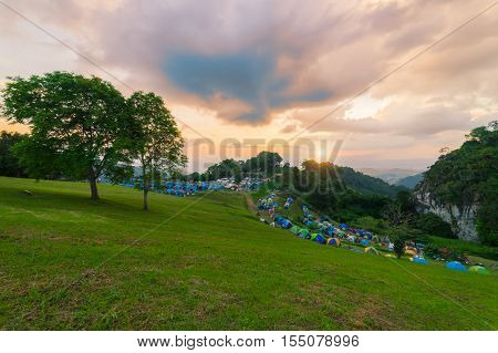 Sunset Scence Of The Front Of Camp
