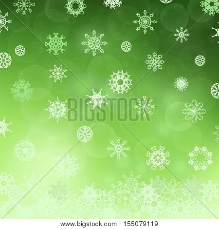 Winter Snowflake Green Pattern. Christmas Snow Background