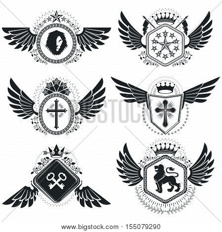 Vintage emblems vector heraldic designs. Coat of Arms collection vector set.